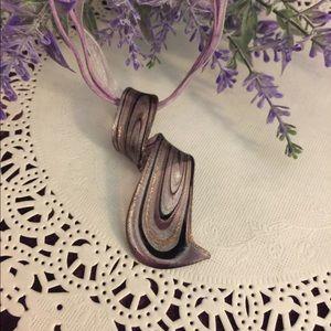 Handblown Glass Curl Pendant - Purple NIB